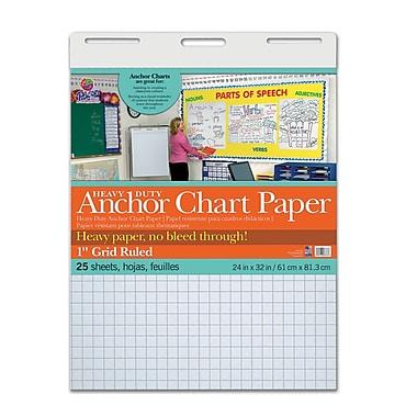 Pacon – Papier résistant pour tableaux thématiques, 24 x 32 po, blanc, 1 quadrillage, 25 feuilles/tablette (PAC3373)