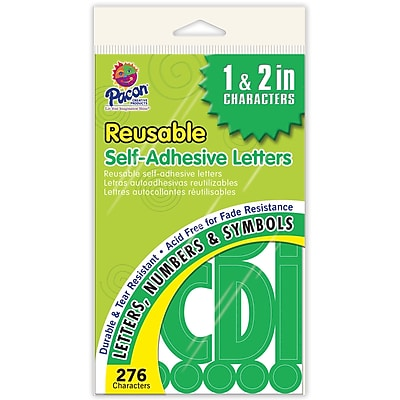 Pacon Reusable Self-Adhesive Letters; Uppercase Letters, Punctuation Marks, Number, Green