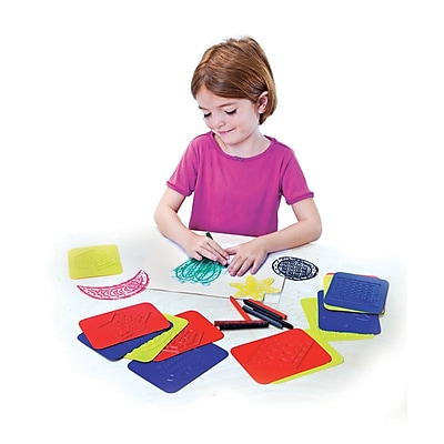 Roylco® Rubbing Plates, Teach Me Shapes Red/Yellow/Blue, 4