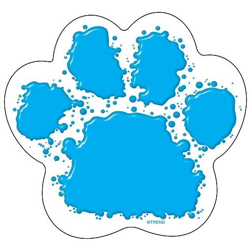"""Classic Accents 5.5"""" x 6"""" Paw Print, Blue/White (T-10085)"""