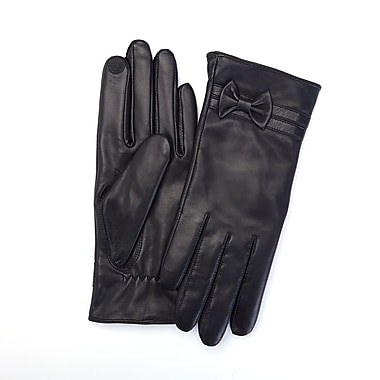 Royce Leather Ladies Lambskin Touchscreen Gloves, Black, Large, Silver Foil Stamping, 3 Initials