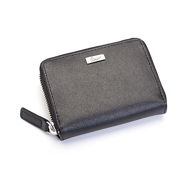 Royce Leather RFID Blocking Saffiano Mini Fan Wallet, Black, Silver Foil Stamping, Full Name