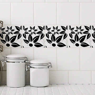Stick Pretty Retile Hibiscus Wall Decal (Set of 10); Black on White