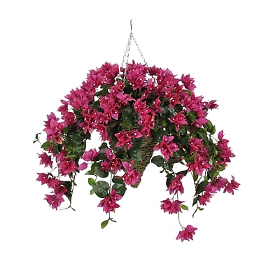 House of Silk Flowers Artificial Bougainvillea Hanging Plant in Cone Basket; Fuchsia
