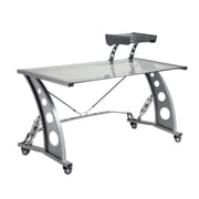 Pit Stop Furniture Racing Style Writing Desk w/ Glass Top and Glass Spoiler Shelf; Clear