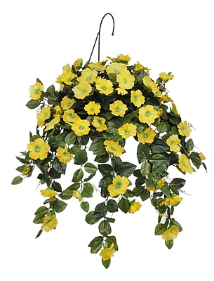 House of Silk Flowers Artificial Petunia Hanging Plant in Basket; Yellow WYF078277870335