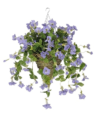 House of Silk Flowers Artificial Petunia Hanging Plant in Cone Basket; Lavender WYF078277870384