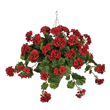 House of Silk Flowers Artificial Geranium Hanging Plant in Cone Basket; Red
