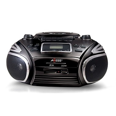 Axess PB2705-BK Portable MP3/CD Player Boombox, Black