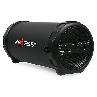 Axess SPBT1031 Portable Bluetooth Indoor/Outdoor 2.1 HiFi Cylinder Loud Speaker, Black