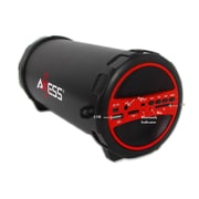 Axess  SPBT1031 Portable Bluetooth Indoor/Outdoor 2.1 HiFi Cylinder Loud Speaker, Red