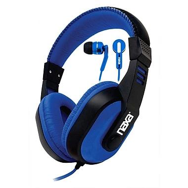 Naxa NE934 DJZ Ultra Plus Headphones and Earphones Combo, Blue