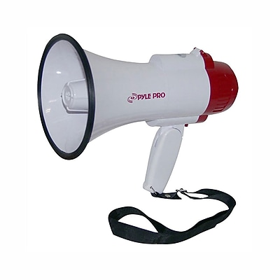 Pyle pmp35r Professional Megaphone/Bullhorn with Siren & Voice Recorder, White/Red