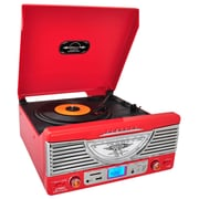 Pyle  Retro Vintage Classic Style Turntable Vinyl Record Player with USB/MP3 Computer Recording, Red (ptr8ur)
