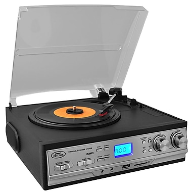 Pyle Classic Retro Style Turntable with AM/FM Radio/Cassette Player (pttcs9u)