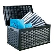 Starplast 71 Gallon Plastic Deck Box; Black / Black