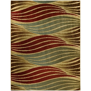 Rugnur Pasha Maxy Home Striped Wave Contemporary Ivory Area Rug; 7'10'' x 10'6''