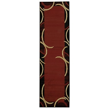 Rugnur Pasha Maxy Home Contemporary Arches French Border Red/Black Area Rug; Runner 2'7'' x 10'