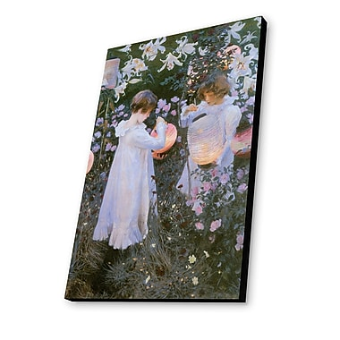 Lamp-In-A-Box Carnation, Lily, Rose 1885 by John Singer Sargent Painting Print Plaque