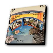 Lamp-In-A-Box Greetings from New York Fulton Graphic Art Plaque