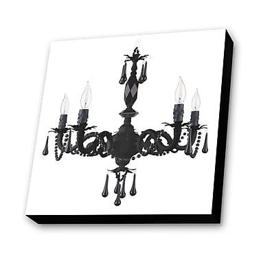 Lamp-In-A-Box Chandelier w/ Background Graphic Art Plaque in White
