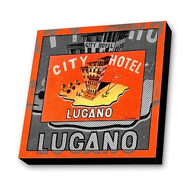 Lamp-In-A-Box City Hotel Lugano, Switzerland Vintage Advertisement Plaque