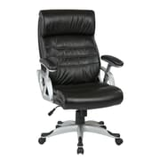 Work Smart Executive Eco Leather Chair with Coil Spring Seat and Height Adjustable Padded Arms