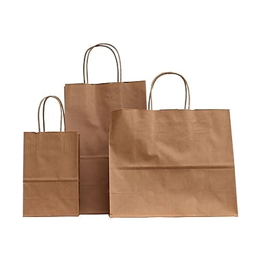 B2B Wraps Paper Shopping Bags, Natural Kraft, 5.25 x 3.5 x 8.25