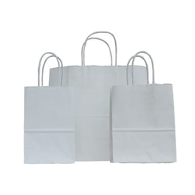 B2B Wraps Paper Shopping Bags, White Kraft, 10 x 5 x 13