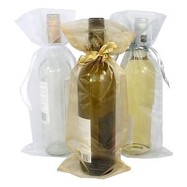 B2B Wraps – Sacs en organza avec cordonnets satinés, bouteille/vin, 6 1/2 x 15 po, or antique, paq./20