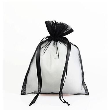 B2B Wraps – Sacs en organza avec cordonnets satinés, 3 x 4 po, noir, paq./20