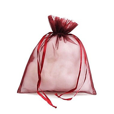 B2B Wraps – Sacs en organza avec cordonnets satinés, 3 x 4 po, bourgogne, paq./20