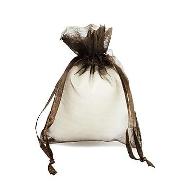 B2B Wraps – Sacs en organza avec cordonnets satinés, 3 x 4 po, brun foncé, paq./20