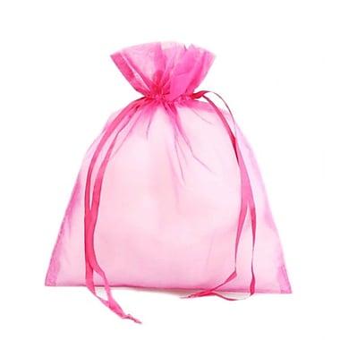 B2B Wraps – Sacs en organza avec cordonnets satinés, 3 x 4 po, rose indien, paq./20