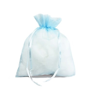 B2B Wraps – Sacs en organza avec cordonnets satinés, 3 x 4 po, bleu clair, paq./20