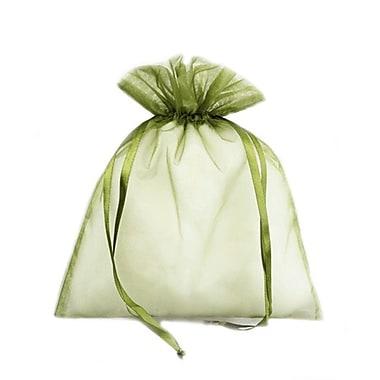 B2B Wraps – Sacs en organza avec cordonnets satinés, 3 x 4 po, vert moss, paq./20