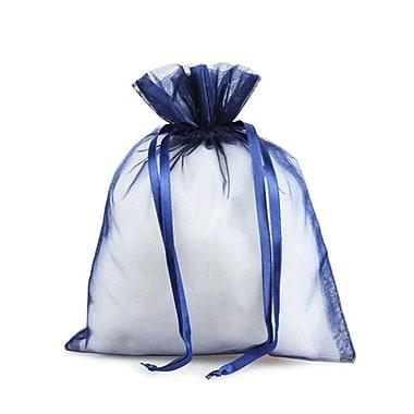 B2B Wraps – Sacs en organza avec cordonnets satinés, 3 x 4 po, bleu marine, paq./20