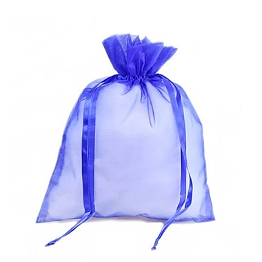 B2B Wraps – Sacs en organza avec cordonnets satinés, 3 x 4 po, bleu roi, paq./20