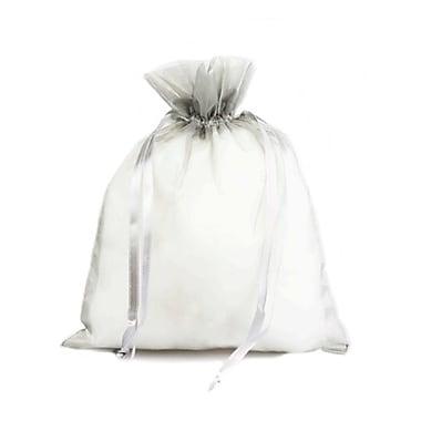 B2B Wraps – Sacs en organza avec cordonnets satinés, 3 x 4 po, argenté, paq./20