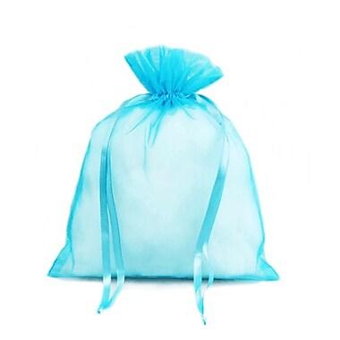 B2B Wraps – Sacs en organza avec cordonnets satinés, 3 x 4 po, turquoise, paq./20