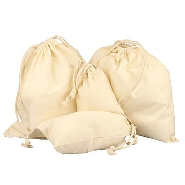 B2B Wraps Cotton Bags with Drawstring, Natural, 12 x 14