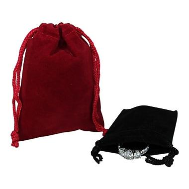 B2B Wraps – Pochettes en velours avec cordon, 3 x 4 po, bleu royal, 50/paquet