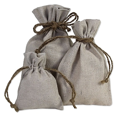 B2B Wraps Linen Bags with Hemp Cords, Natural Linen, 6 x 14