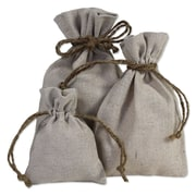 B2B Wraps Linen Bags with Hemp Cords, Natural Linen, 24/Pack