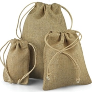 B2B Wraps Jute Bags with Draw String, Natural Jute, 24/Pack