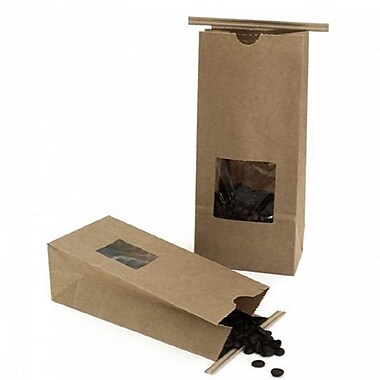 Nashville Wraps Paper Tin Tie Coffee Bags with Window, Kraft, 1/2 lb, 3-3/8