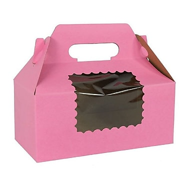 Unisource Cupcake Gable Boxes with Window, 100% Recycled, 8 x 4 x 4, Strawberry , 10/Pack