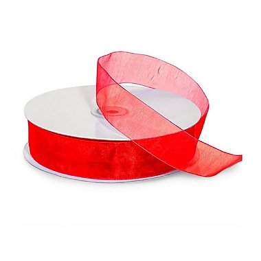 B2B Wraps – Ruban organza transparent, colori de base, 5/8 po x 100 verges, rouge