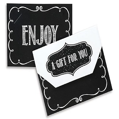 Porte-cartes pliables de type « Nashville » avec fermetures à velcro, 4 1/2 x 3 1/2 x 3/8 po, style tableau noir, 12/paquet