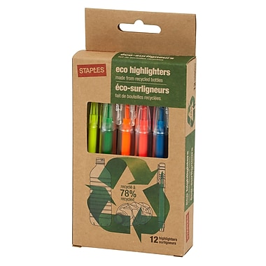 Staples Eco Pen-Style Highlighters, Assorted, 12/Pack